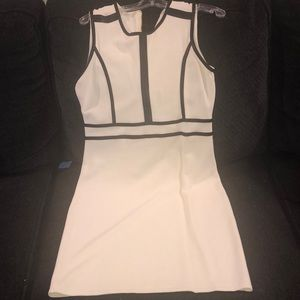 White stretch with leather detail dress